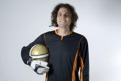 Uomo con la sfera di calcio Fotografie Stock
