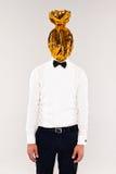 Uomo con la testa della caramella Fotografie Stock