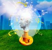 Uomo con la testa di marmo Fotografie Stock Libere da Diritti
