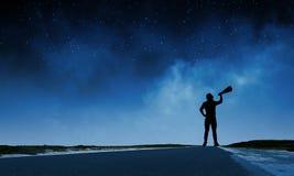 Uomo con la tromba Fotografie Stock