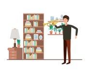 Uomo con la tromba nel carattere del salone illustrazione vettoriale