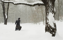 Uomo con la valigia che cammina nella neve Immagini Stock Libere da Diritti