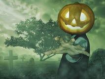 Uomo con la zucca di Halloween Immagine Stock Libera da Diritti
