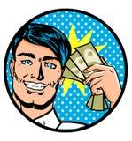 Uomo con le banconote, finanziarie Fotografia Stock