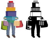 Uomo con le borse ed il vettore di contorno Fotografia Stock Libera da Diritti