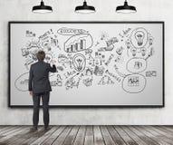 Uomo con le icone di affari del disegno Immagine Stock