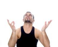 Uomo con le mani aperte Fotografie Stock