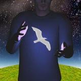 Uomo con le mani e l'uccello aperti Fotografia Stock