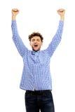 Uomo con le mani sollevate su Fotografie Stock