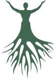 Uomo con le radici dell'albero Siluetta su un fondo bianco Fotografia Stock