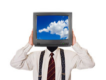 Uomo con lo schermo del cielo TV per la testa Fotografie Stock