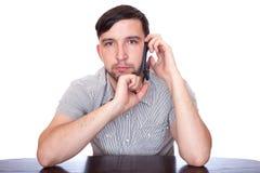 Uomo con lo smartphone Fotografia Stock