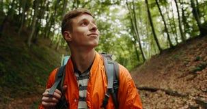 Uomo con lo zaino che guarda intorno nella foresta video d archivio