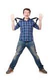 Uomo con lo zaino isolato Fotografia Stock
