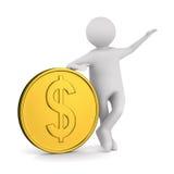 Uomo con soldi su priorità bassa bianca Fotografia Stock Libera da Diritti