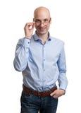 Uomo con sorridere di vetro Fotografia Stock Libera da Diritti