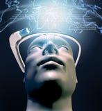 Uomo con tecnologie informatiche portabili con un'esposizione testa-montata ottica Immagini Stock Libere da Diritti