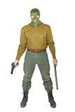 Uomo con un bastone e una pistola di gomma Fotografia Stock Libera da Diritti
