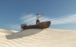 Uomo con un cannocchiale in una barca Immagini Stock Libere da Diritti