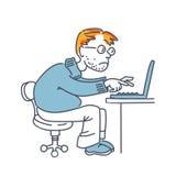 Uomo con un computer portatile sul lavoro Fotografia Stock