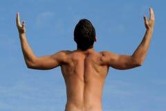 Uomo con un costruttore di corpo Fotografia Stock