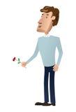 Uomo con un fiore Immagine Stock