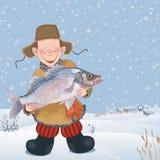 Uomo con un pesce Fotografia Stock