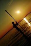 Uomo con un pilone fotografie stock libere da diritti