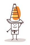 Uomo con un segno del cono della costruzione sulla sua testa Immagine Stock
