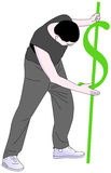 Uomo con un segno del dollaro che lo picchetta in terra Fotografie Stock Libere da Diritti