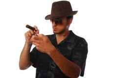 Uomo con un sigaro Immagini Stock