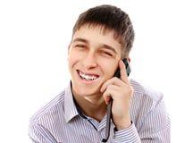 Uomo con un telefono Immagine Stock