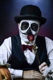 Uomo con un trucco messicano di calaveras Fotografia Stock Libera da Diritti