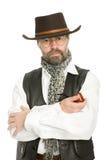 Uomo con un tubo di fumo. Immagini Stock Libere da Diritti
