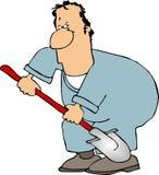 Uomo con una pala illustrazione di stock