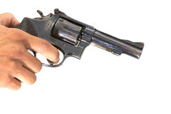 Uomo con una pistola pronta a sparare Immagini Stock Libere da Diritti
