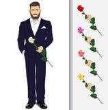Uomo con una rosa Illustrazione di Stock