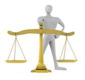 Uomo con una scala dorata Immagine Stock Libera da Diritti
