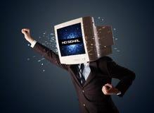 Uomo con una testa del monitor, nessun segno del segnale sull'esposizione Fotografia Stock Libera da Diritti