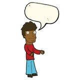 uomo confuso del fumetto con il fumetto Fotografie Stock Libere da Diritti