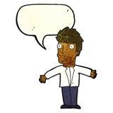 uomo confuso del fumetto con il fumetto Fotografia Stock Libera da Diritti