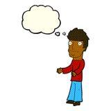 uomo confuso del fumetto con la bolla di pensiero Immagini Stock Libere da Diritti