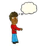 uomo confuso del fumetto con la bolla di pensiero Immagine Stock