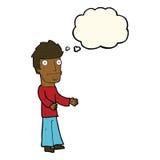 uomo confuso del fumetto con la bolla di pensiero Fotografia Stock Libera da Diritti