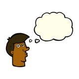 uomo confuso del fumetto con la bolla di pensiero Fotografie Stock Libere da Diritti