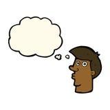 uomo confuso del fumetto con la bolla di pensiero Fotografia Stock
