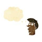 uomo confuso del fumetto con la bolla di pensiero Immagini Stock