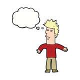 uomo confuso del fumetto con la bolla di pensiero Fotografie Stock