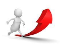 Uomo corrente di bianco 3d e grande freccia in aumento rossa Fotografie Stock