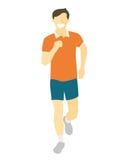 Uomo corrente di progettazione piana Funzionamento del ragazzo, vista frontale Vector l'illustrazione per lo stile di vita sano,  Immagine Stock